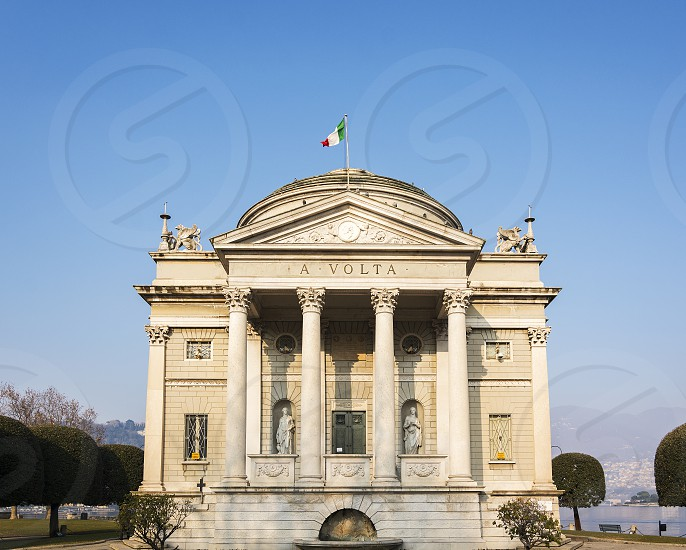 The Volta Temple the neoclassical monument dedicated to Alessandro Volta the inventor of the electric battery near the Como lake in Italy photo