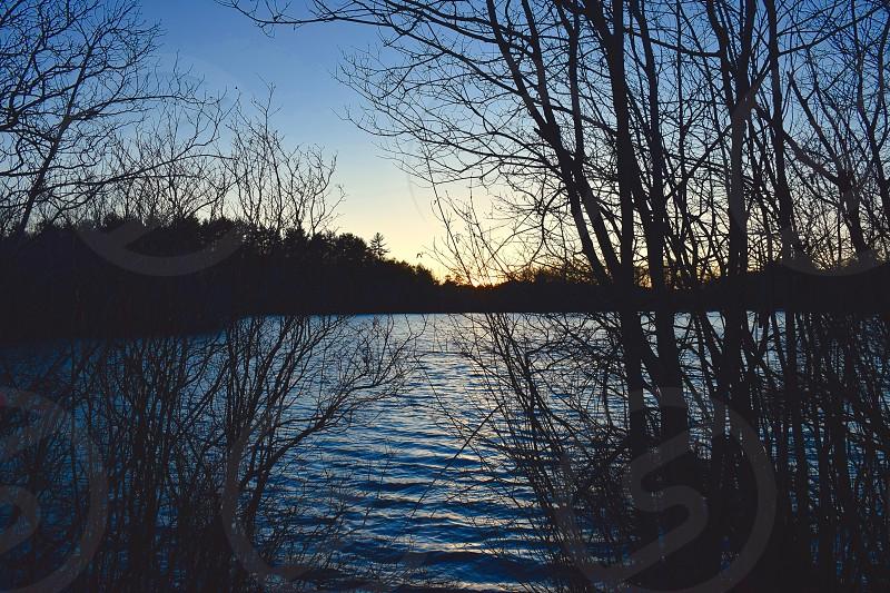 nature sunset lake water lighting dusk photo