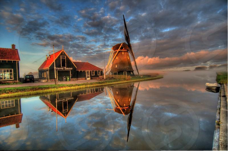 windmill reflection photo