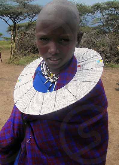 Young girl from Masai Mara tribe in Kenya.  photo