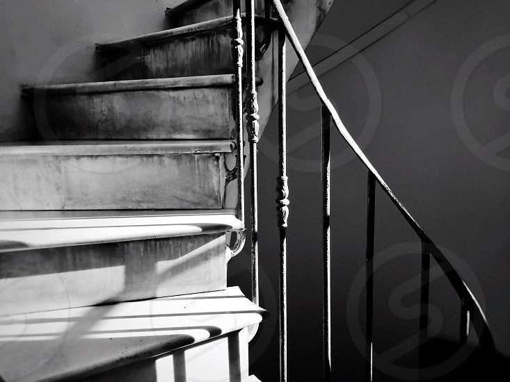 Stairs staircase spiral Black and white architecture ancient old architecture railing handrails  photo