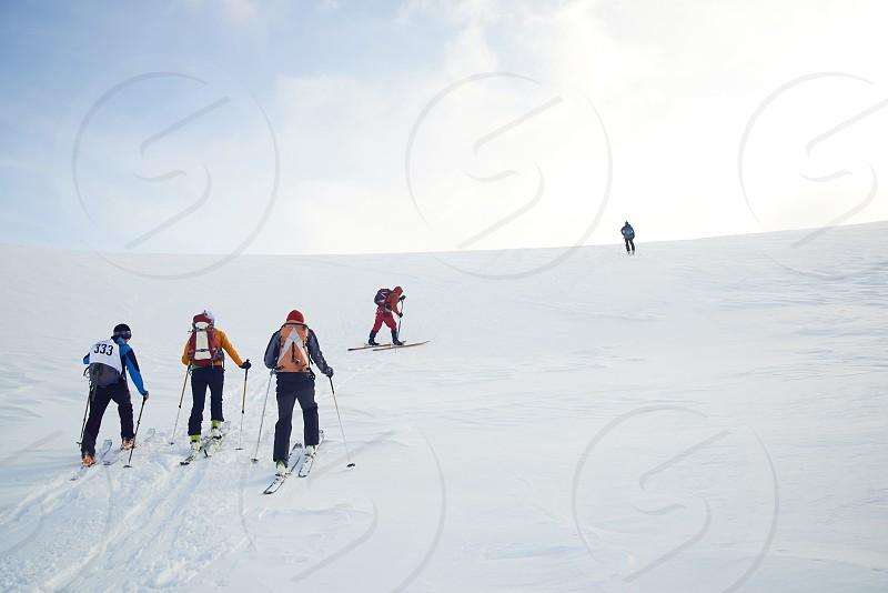 Skitouring mountain views in winter photo