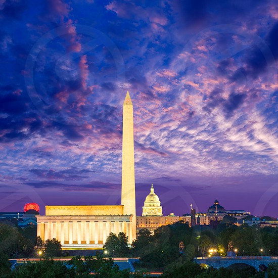 Washington DC skyline with Monument Capitol and Abraham Lincoln memorial sunrise photo