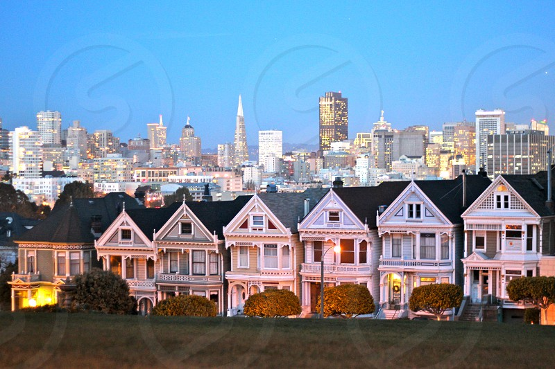 San Francisco's Painted Ladies at dusk. photo