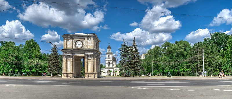 Chisinau Moldova – 06.28.2019. Stefan cel Mare Boulevard in the center of Chisinau capital of Moldova on a sunny summer day photo