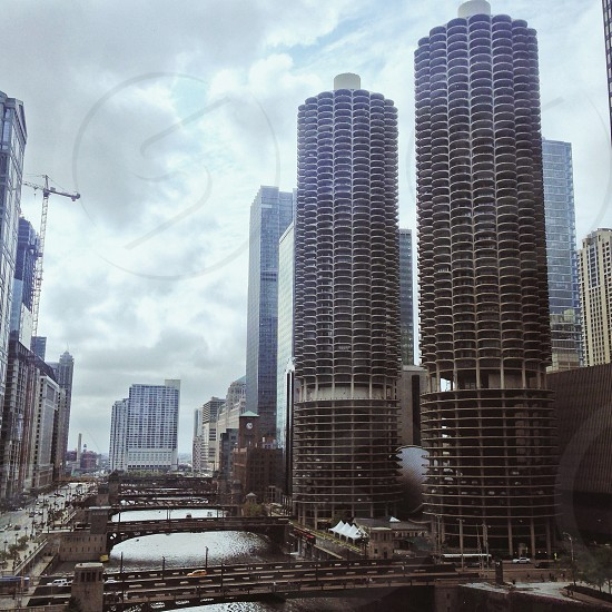 Chicago river skyline photo