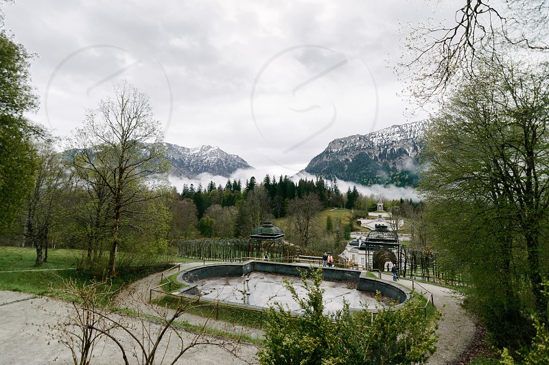 Linderhof Palace Germany. View of the gardens and fountains of the Palace. It is palace built by King Ludwig II of Bavaria inspired by Versailles photo