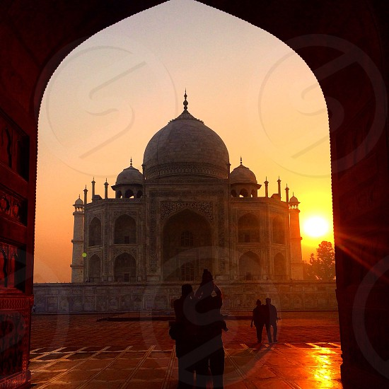 Sunrise over the Taj Mahal - view from the mosque  photo