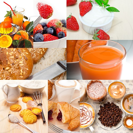 ealthy fresh nutritious vegetarian breakfast collage composition set photo