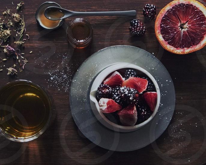 Healthy fit berries blood oranges honey tea lavender elderberry fruit blackberries mouthwatering  photo