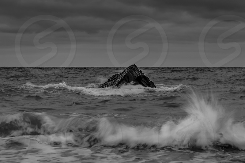 a seascape in Bude Cornwall taken in stormy conditions photo