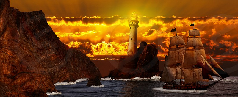 galleon on water by a brown rocky shore with a lighthouse photo
