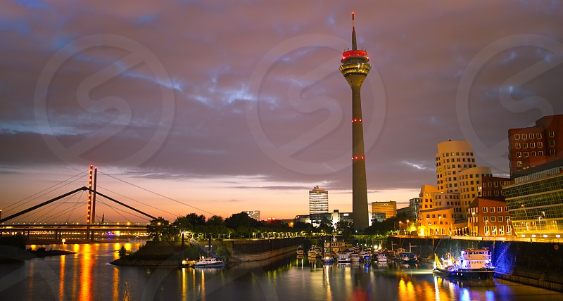 Düsseldorf Medienhafen on sunrise photo