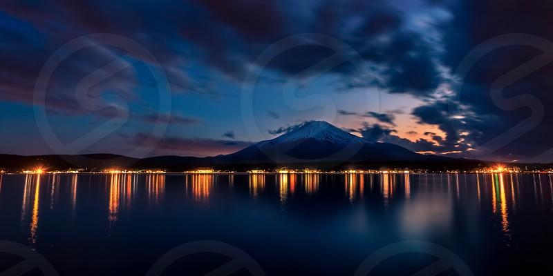 My fuji lake sunset Asia lights HDR long exposure photo