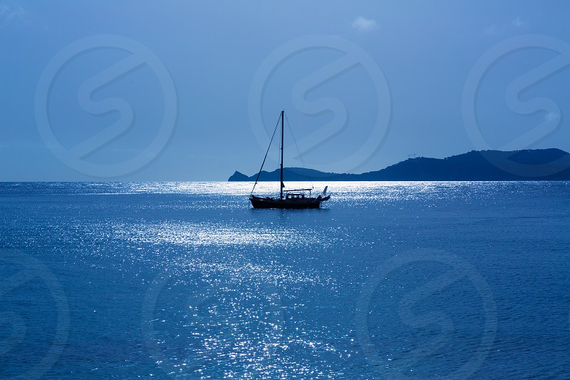 Javea Xabia morning light sailboat in Mediterranean Alicante at Spain photo
