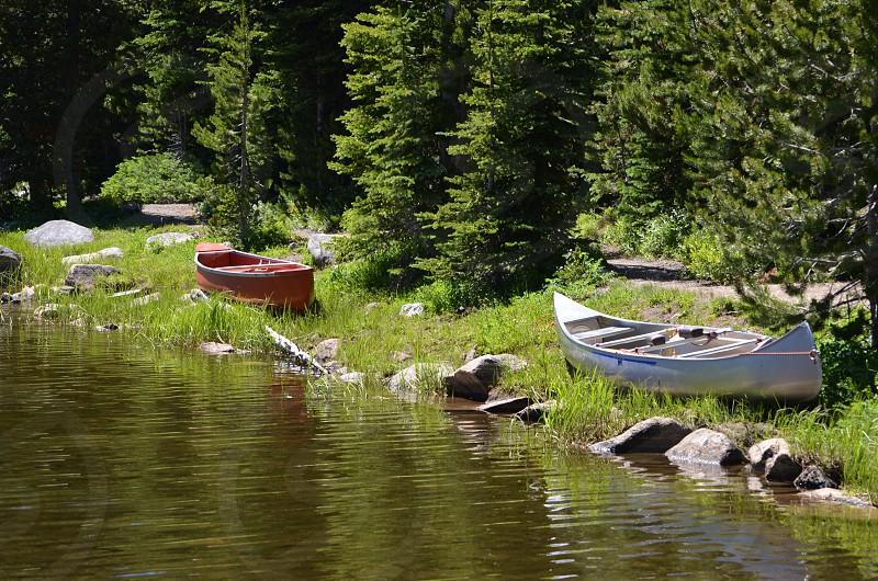 Canoes along Anthony Lake Oregon photo