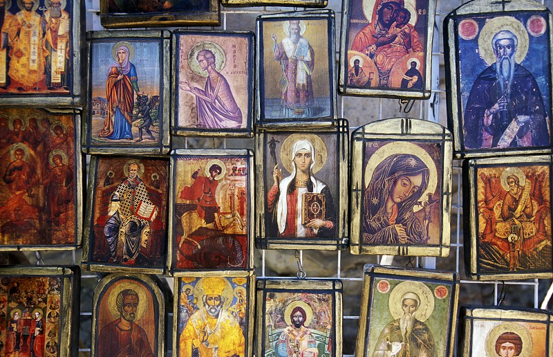 picture in the Cathedral in the city centre of Varna on the Blacksea in Bulgaria in east Europe. photo