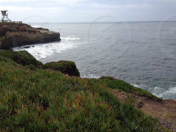 beach cliff and open green field view photo