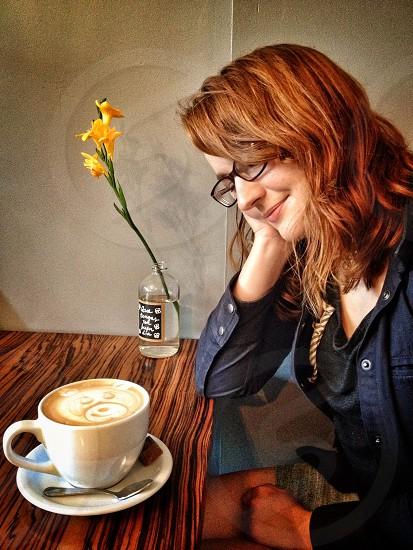 woman coffee latte flower happy glasses photo