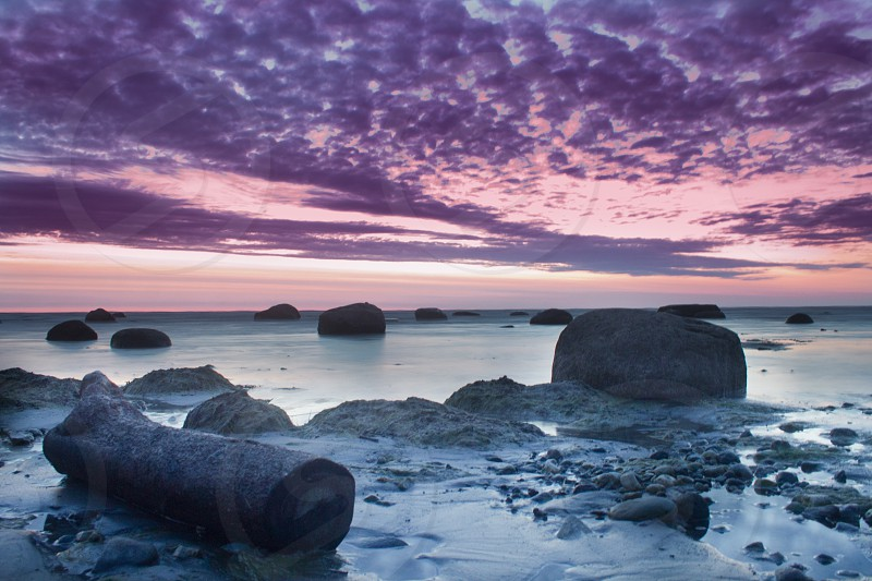 Early morning just before sunrise by the Baltic sea.  photo