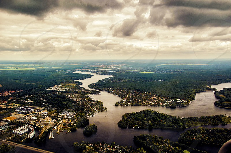river europe aerial clouds water city photo