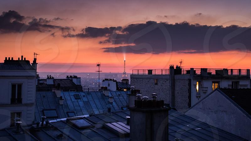 paris eiffel architecture monument sunset photo