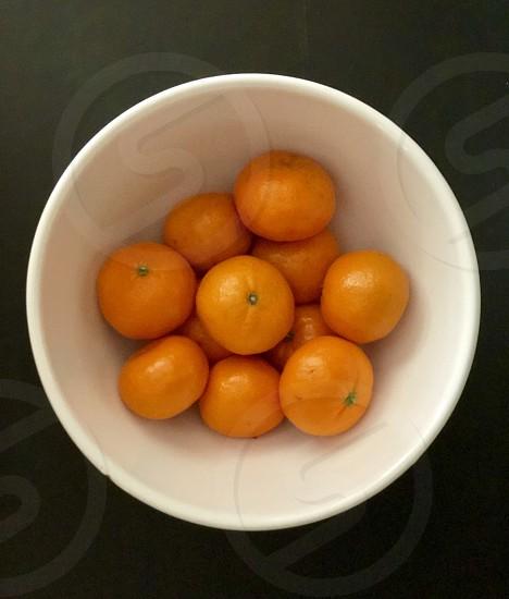 In-Studio Challenge Tangerines in White Bowl With Black Background  Healthy Fruit Studio Lighting Vegan Vegetarian  photo