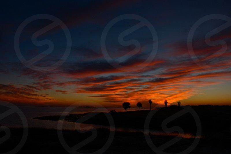 sunset view on sea photo