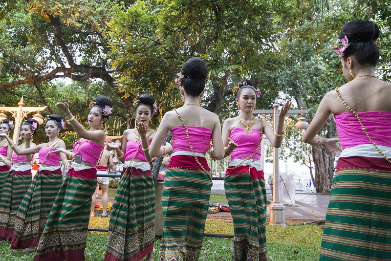 traditional Thai Dance at the Loy Krathong festival at the fort Sumen at the Santichaiparakan park in Banglamphu in the city of Bangkok in Thailand.  Thailand Bangkok November 2017 photo