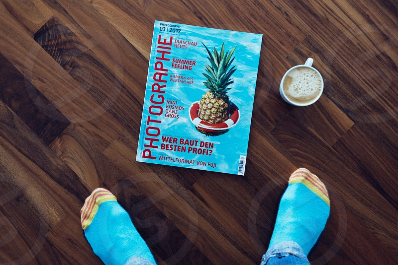 Wooden floor color color matching coffee socks magazine photo