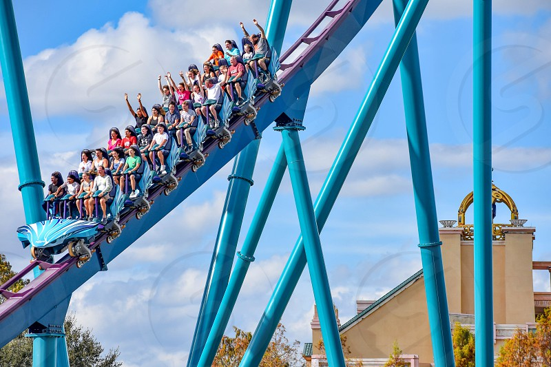 Orlando Florida. December 26 2018. People enjoying amazing rollercoaster ride at Seaworld in International Drive area (3) photo