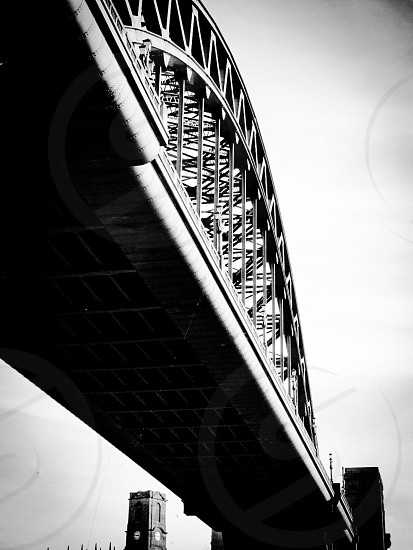 Black and white shot of the Tyne bridge taken from The Side photo