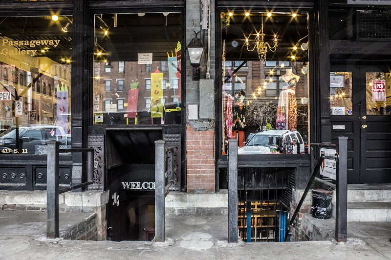 Cute boutiques in Omaha Nebraska stairs underground shops.  photo