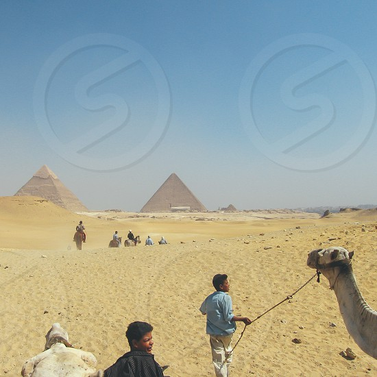 The pyramids from the desert photo