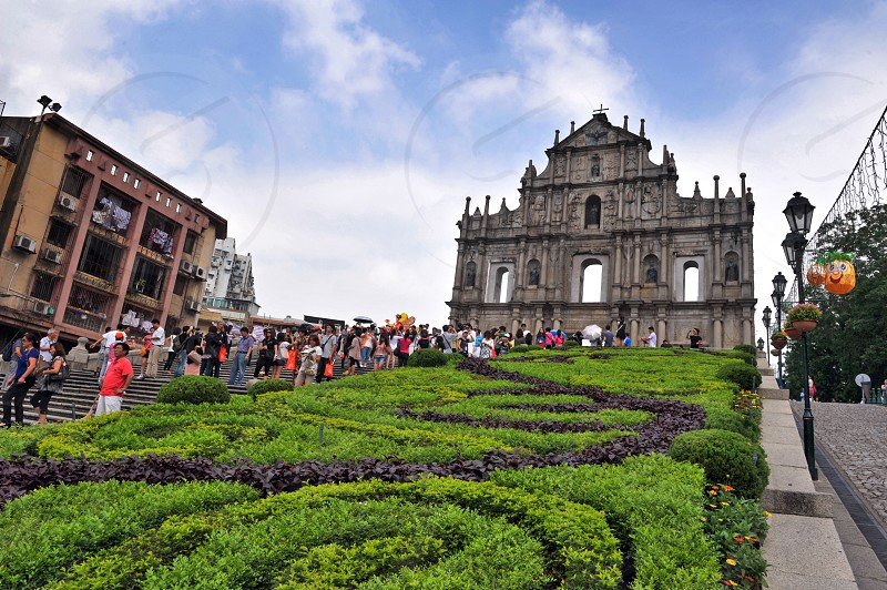 Ruins of St. Paul's Church the UNESCO World Heritage Site located in historic town of Macau China photo