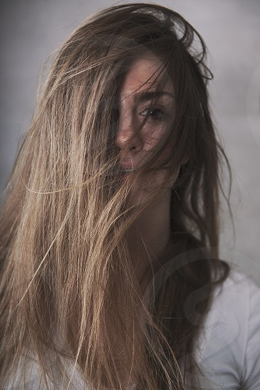 woman with long brown hair photo