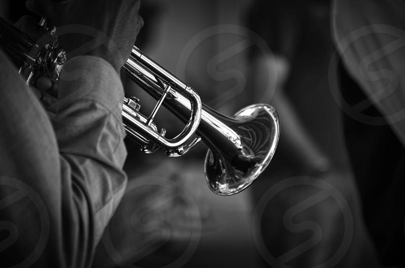 """Saturday Trumpeteer"" music black and white photo"