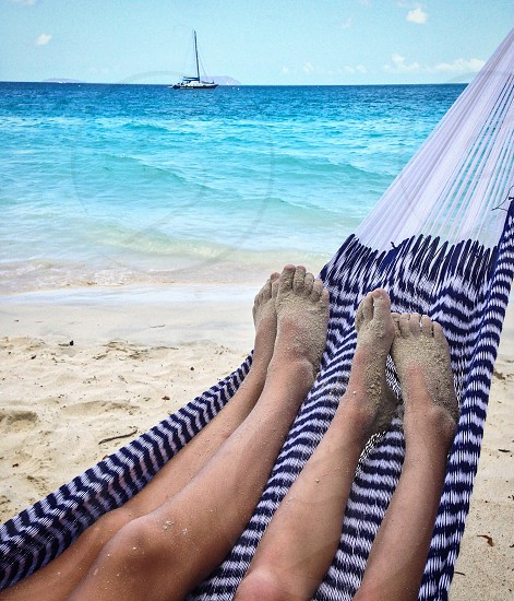 Sandy feet in the hammock photo