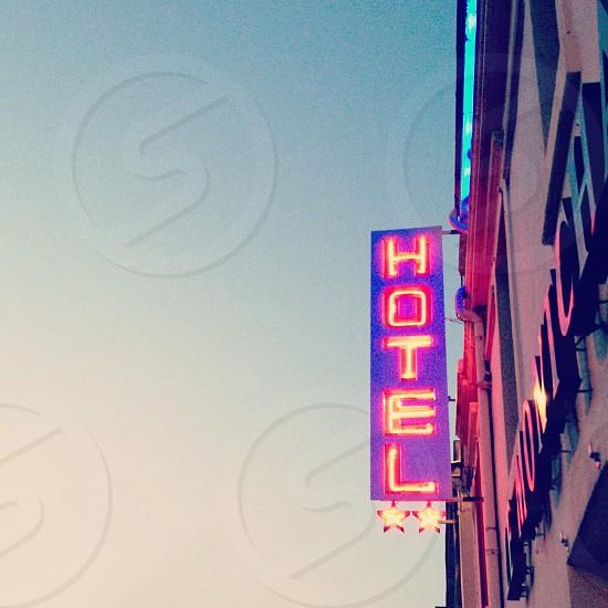 Neon hotel sign Dijon France | travel signage photo