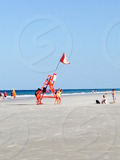 Beach Life Guards Off Duty Activity. photo