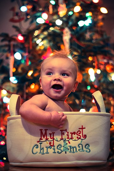 nephew's first christmas photo
