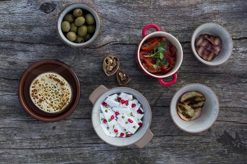 summer food; cheese; fruit; salad photo