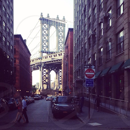 Brooklyn's DUMBO neighborhood lies beneath the Manhattan Bridge. photo