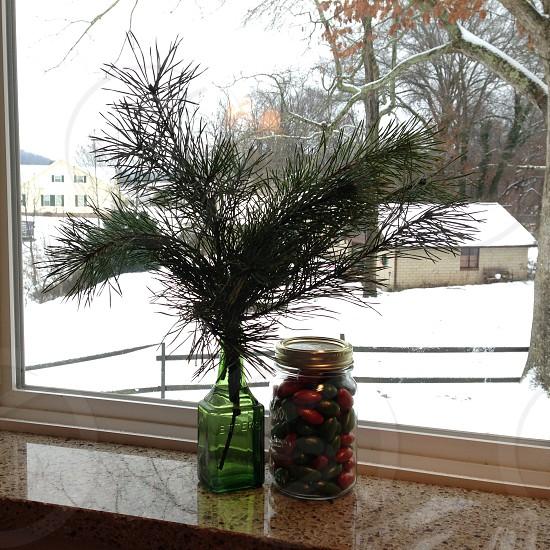 snowy window view photo