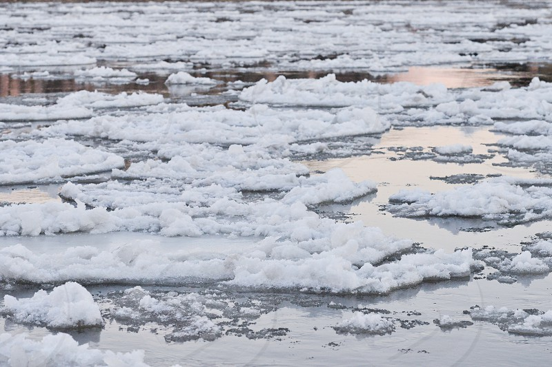 Frozen water circles float down the Missouri River during a cold winter day. photo