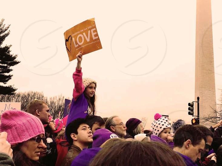 Women's March DC. Message: Love Wins! photo