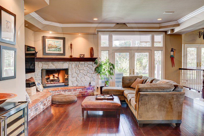 A modern living room in an Orange County CA estate photo