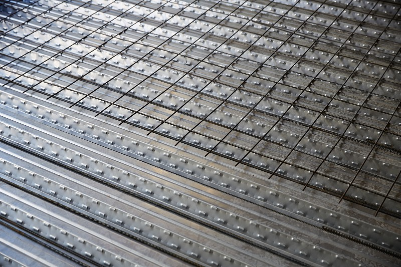 reinforced concrete slab with sheet metal formwork photo