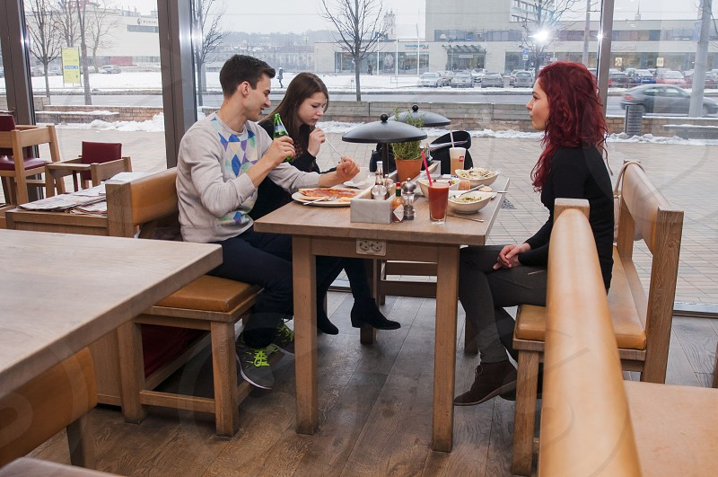 people eating drinking brunch scene bloody mary fun happy indoors restourant bar Vapiano tasty ad photo
