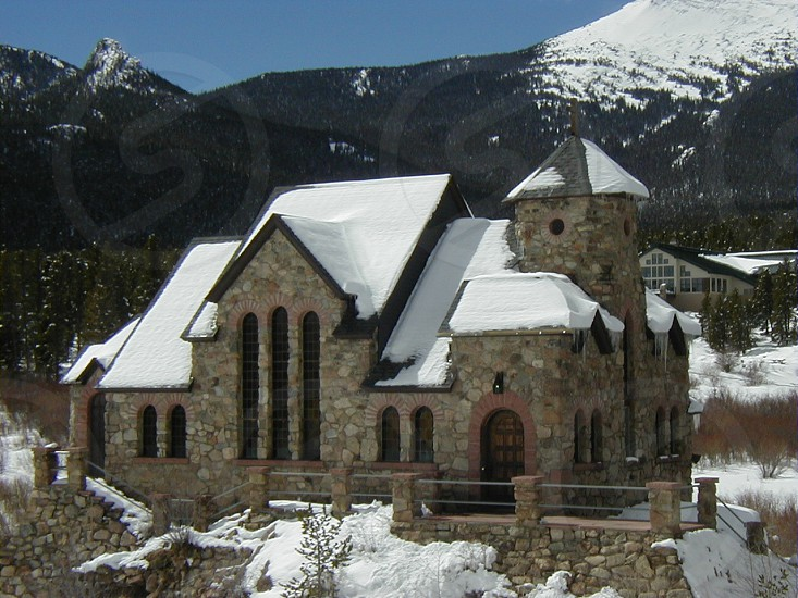 St. Malo Catholic Church Colorado mountains. photo